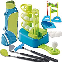 small size JOYIN Club Complete Golf Toy Set 3 Golf Clubs, 3 Club Heads, Luxury Toy Golf Bags, 15 Educational Toy Golf Balls and Toddlers, Boys and Girls Golf Accessories, Lawn Sports Toys