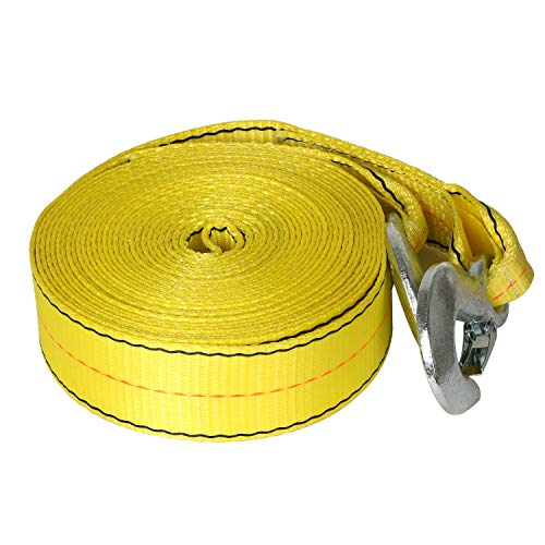 Weize 30 FT x 2 in Tow Strap Rope with 2 Forging Hooks 10,000lb Towing Recovery