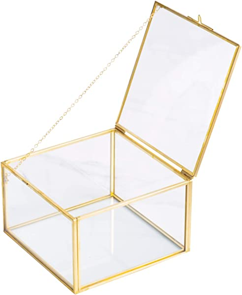 Golden Square Vintage Brass Clear Glass Decorative Box Home Decor Jewelry Case Box Organizer With Latching Lid