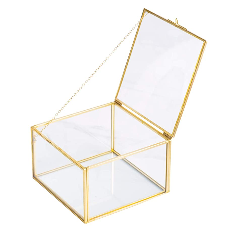 Golden Square Vintage Brass & Clear Glass Decorative Box Home Decor, Jewelry Case Box Organizer with Latching Lid