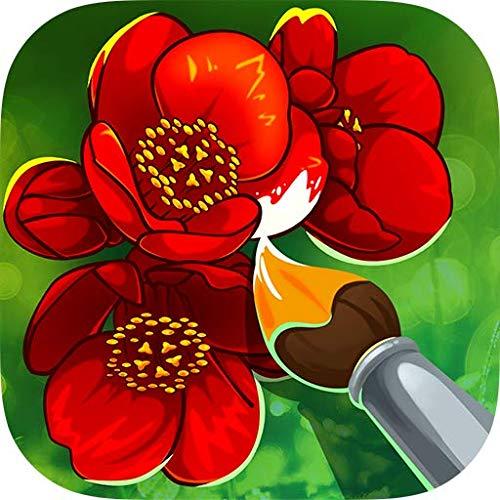 Coloring Book — Flowers: Mal Spiele, wo man Ausmalbilder von Blumen wie mit Bleistift & Pinsel ausmalen kann, kreative Erwachsene & Farben Spiele, mit den Malen nach Zahlen & Zeichnen interessant wird