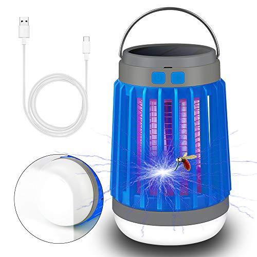 Linterna Camping Solar, Lámpara Antimosquitos Eléctrico UV , 2 en 1 Lámpara Solar UV para Camping, IP67 Impermeable Portátil Mosquito Asesino Carpa Lámpara USB Recargable para Interior y Exterior