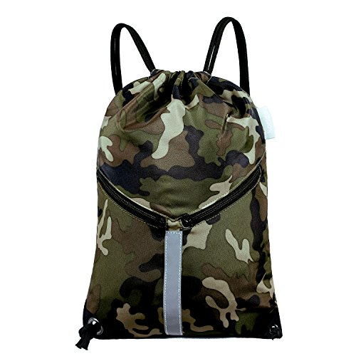 KORIDO Drawstring Backpack Unisex Sport Gym Sack Reflective Bag (Jungle Camo)