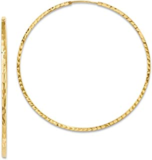 14K Yellow Gold Diamond Cut Square Tube Continuous Endless Hoop Earrings, 15-60mm (1.35mm Tube)