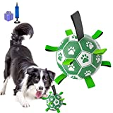 Zoulao Upgrade Dog Ball Interactive Dog Toys Soccer with Grab Tabs Durable Dog Balls for Small Medium Large Dogs, Fun Soccer Toys for Dogs Indoor and Outdoor Water Beach Grass Park (6 inch)