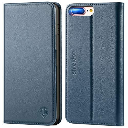 SHIELDON iPhone 8 Plus Case, iPhone 8 Plus Wallet Case, Genuine Leather iPhone 7 Plus Flip Magnetic Cover Card Slots Holder Kickstand Shockproof Protective Case Compatible with iPhone 8 Plus - Blue