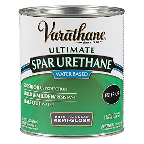 Product Image of the Rust-Oleum 250141H Ultimate Spar Urethane Water Based, Quart, Semi Gloss Finish