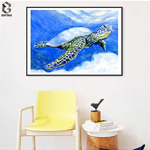 tzxdbh aquarel zeeschildpad posters en afdrukken muur kunst canvas schilderij foto's voor woonkamer kinderkamer decoratie huis decor-in schilderij & kalligrafie van 30x40cm No frame Kleur: wit
