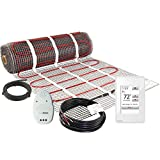 LuxHeat 25 Sqft Mat Kit (120v) Electric Radiant Floor heating System for Under Tile & Laminate. Underfloor Heating Kit Includes Heat Mat, Alarm & OJ Microline WiFi Programmable Thermostat with GFCI