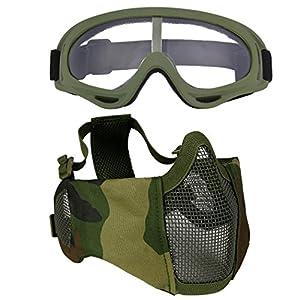 516S3fRbMWL. SS300  - Fansport Mesh Mesh Mask Máscara Ajustable Máscara Ajustable Máscara Ajustable Airsoft con Gafas de Seguridad