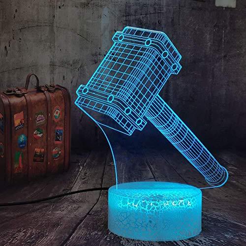 YOUPING Neuheit Cool Big Thor Hammer 3D 7 Farbwechsel Nachtlicht Tisch Mehrfarbige Remote Schreibtischlampe Kinder Geburtstag Weihnachtsspielzeug