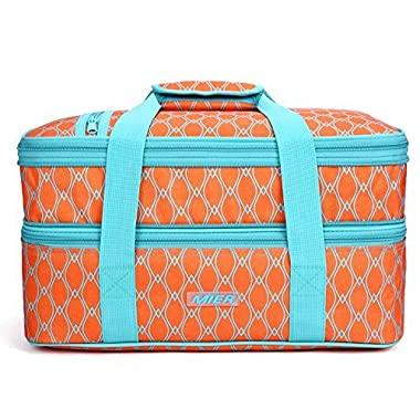 MIER Insulated Double Casserole Carrier Thermal Lunch Tote for Potluck Parties, Picnic, Beach - Fits 9 x13  Casserole Dish, Expandable, Orange