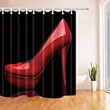 Meishikaeu Creative Sex Woman Decor Red High Heels In Black Shower Curtain Resistant Polyester Fabric Bathroom Bath Curtains Set with Hooks,71X71 Inches 79x72 Inch
