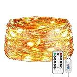 LE Guirnalda de Luces, 20m 200 LED USB Blanco Cálido Alambre de Cobre Impermeable, Cadena de Luces...