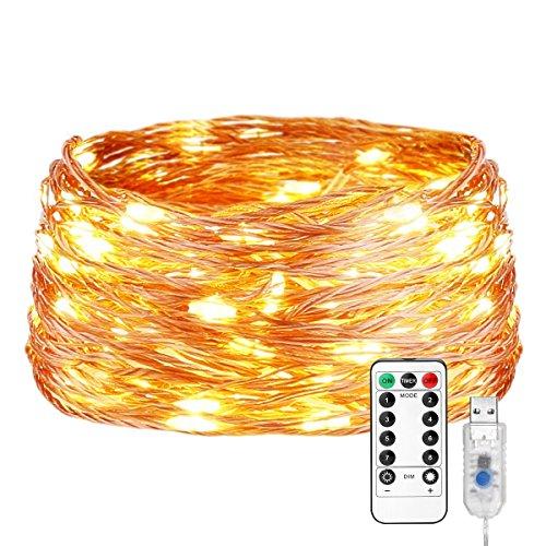 LE Luci Stringa Luminosa 20m 200 LED Catena in Rame Impermeabile IP65, 8 Modalità di Illuminazione Bianco Caldo 3000K Telecomando Incluso, Luce Dimmerabile Funzione Memoria per Decorazioni Feste