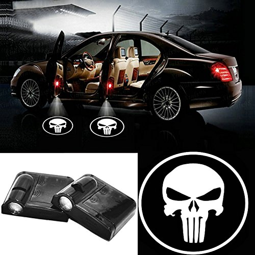 2pcs Universal Wireless Car Projection LED Projector Door Shadow Light White Skull Welcome Light Laser Emblem Logo Lamps Kit for Punisher
