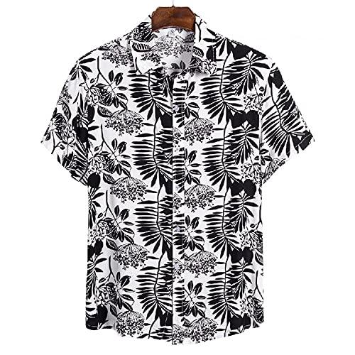 Camisa Hombres Verano Casual Camisa Playa Transpirable Tendencia Impresión Botón Tapeta Solapa Hombres Manga Corta Suelta Cómoda Moda Camisa Hawaii CS124 L