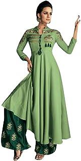 PaleGreen Indian Designer Evening Cocktail dress Heavy Maslin Plazo Suit Muslim Women Party wear 7868