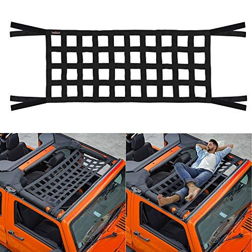 Seven Sparta Car Roof Net Hammock Compatible with Jeep Gladiator JT & Jeep Wrangler YJ, TJ, JK, JKU, JL, JLU 1987-2020 4-Door and 2-Door