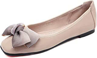 c7a87a309ae8 Memorygou Women Flat Shoes Slip on Square Toe Bowtie Ballet Flats with  Flexible Outsole
