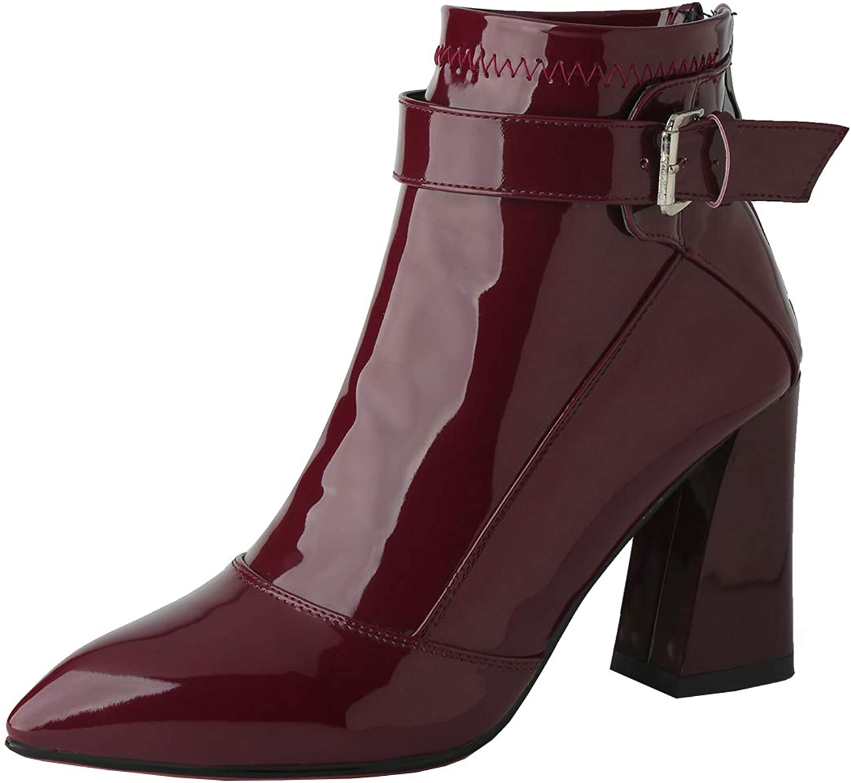Kikiva Womens Pointed Toe High Block Heel Ankle Boots Buckle Back Zip Booties