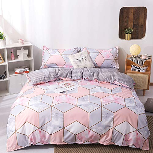 Nordic Modern Style Home Textiles Bedding Set Small Fresh Series Geometry Plaid Pink Duvet Cover Queen King Size Linen Comforter Set Double Single The Comfy for Girl Boy Adult,King