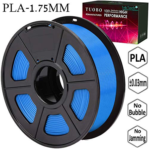 Tuobo PLA Filament 1.75mm Blue 3D Printer Consumables, 1kg Spool (2.2lbs), Dimensional Accuracy +/- 0.05 mm, Fit for Most DIY Printer and 3D Pen