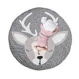 Ysislybin Alfombra infantil redonda de alce, manta para gatear para bebé, alfombra para dormir de bebé, color gris, alfombrillas de juego para niños pequeños, 85 cm