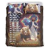 Viiry Juego de ropa de cama de microfibra de cordero león, Jesús para todas las estaciones, 1 funda de edredón y 1 funda de almohada para casa de 264 x 228 cm