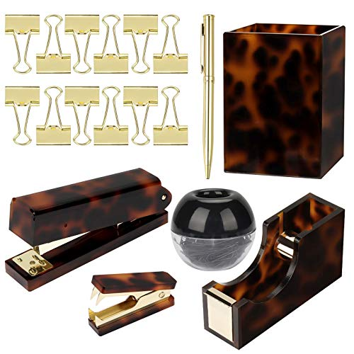 Tortoise Gold Acrylic Office Supplies Desk Accessories Organizer Set Stapler Tape Dispenser Pen Pencil Cup Black Paper Clip Holder Dispenser Ballpoint Pen Mini Staple Remover Binder Clips