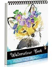 KidsPark Papier Aquarelle A4 Cahier de Dessin Professionnel, Carnet de Dessin a4 Spirale Papier Dessin Carnet Aquarelle pour Enfant Adultes, Bloc Dessin sans Acide 30 Feuilles