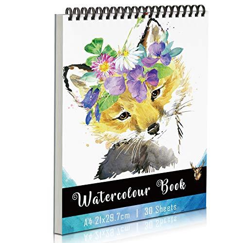 Aquarellpapier A4 Aquarellblock, KidsPark Zeichenblock A4 300g, 30 Blatt Watercolor Paper Ringbuch Skizzenbuch A4 Malblock für Aquarell mit Spiralbindung