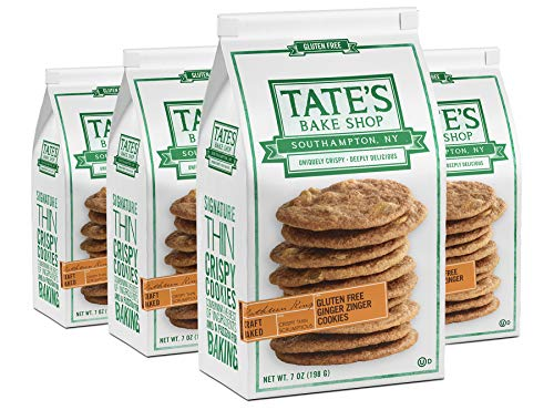 Tate's Bake Shop Thin & Crispy Cookies, Gluten Free Ginger Zinger, 7 Oz, 4Count