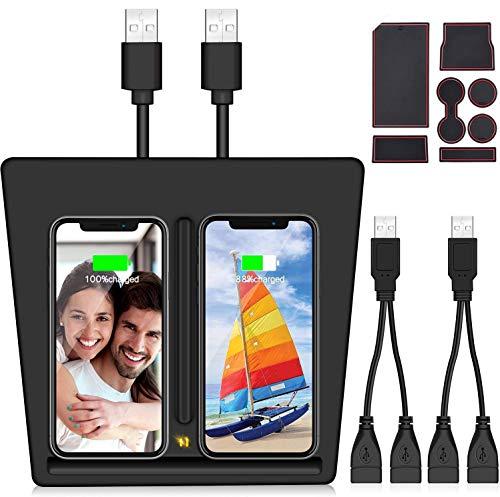 VXDAS Cargador inalámbrico para Tesla Modelo 3, Puertos USB dobles Plataforma de carga inalámbrica para Tesla Modelo 3, Cargador móvil dual para todos los teléfonos habilitados para Qi