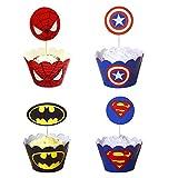 96 Unids Superhéroe Cupcake Toppers Wrappers Toppers Cake Decoraciones de mesa Suministros de fiesta 4 estilos-Spiderman Superman Batman Capitan America for Boys Kids Birthday Party Decor Favors