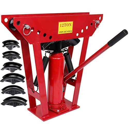 Manual Pipe Bender Tube Handheld Heavy Duty Tubing Benders 180 Degree Bending Machine 1/2 3/4 and 2 inch 12 ton Hydraulic Pipe Bending Tube Tools for Construction Site Machinery Manufacturing