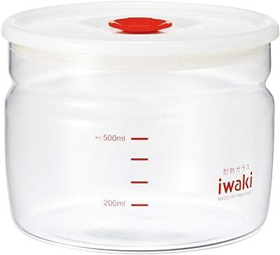 iwaki(イワキ) 耐熱ガラス 密閉容器 キャニスター 径12.4×高さ9.5cm 550ml KT7001MP-R フタをしたまま電子レンジ使用可