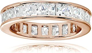 Sterling Silver Cubic Zirconia Princess-Cut 3mm Channel Set Polished Eternity Band Ring