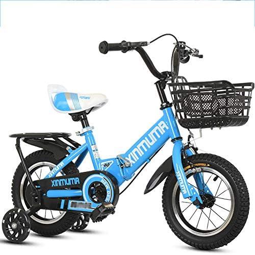 BAICHEN Kinderfürr r,Faltbares fürrad für Kinder mit Trainingsrad 12 14 16 18 Zoll Junge und mädchen beim Radfüren,Geeignet für Kinder von 2-12 Jahren,Blau,18inches