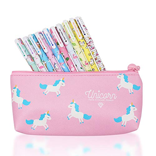 10 pcs Unicorn Flamingo Gel Pens Set with Unicorn Pen Pencil Case,Fine Point(0.5mm),10 Ink Color,Best Unicorn Gifts for Girls,Unicorn Theme Party Favors (5 unicorn+5 flamingo colorful ink)