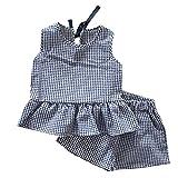 Mbby Tuta Bambino Estate, 2-7 Anni Completo Bambina Ragazze Ragazza 2 Pezzi Tute Maglietta Gilet Senza Manica + Pantaloncini Set Cotone (2-3Anni, Blu)