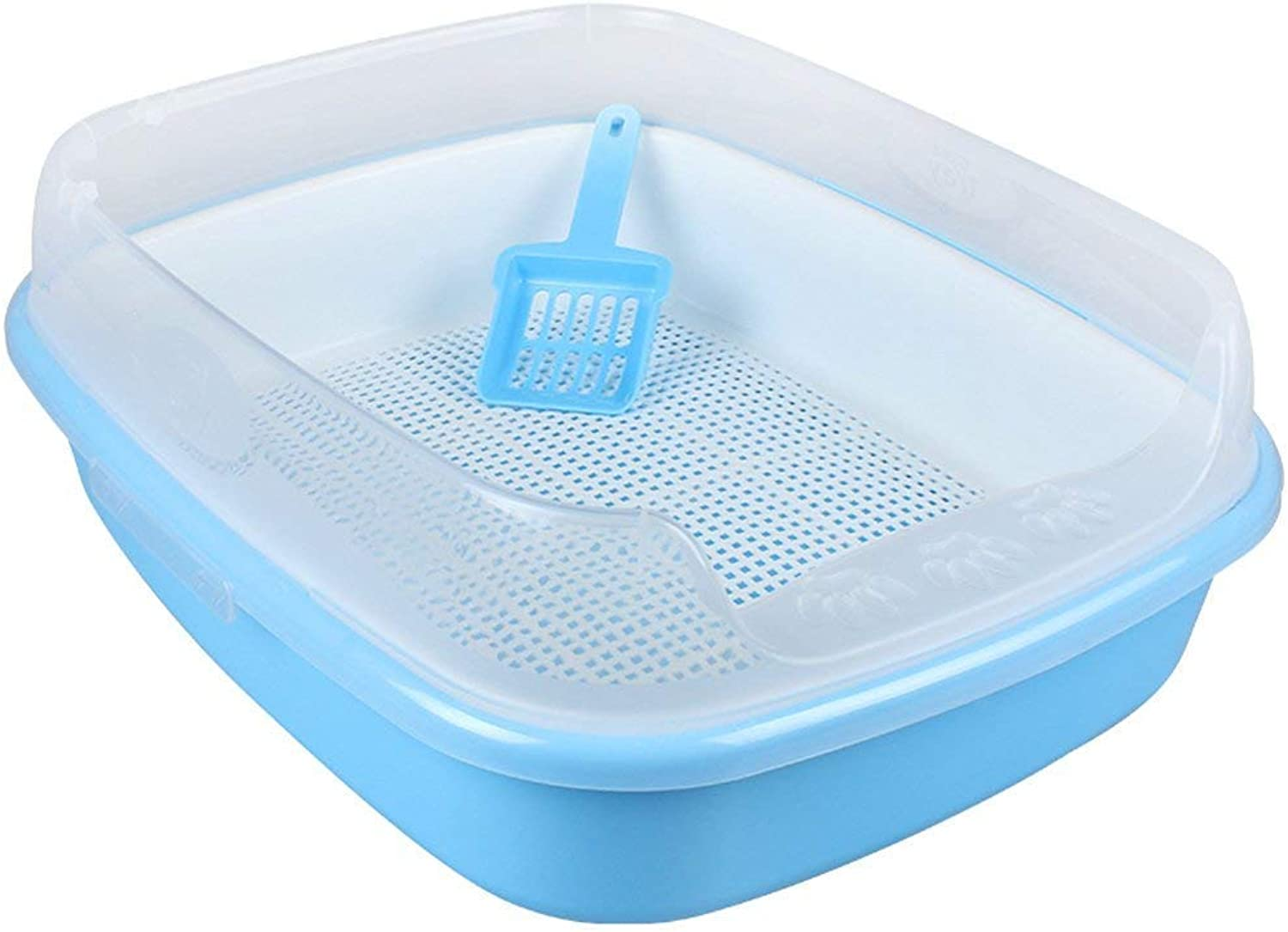 CHONGWFS DoubleLayer ThreeLayer Grid Cat Toilet Litter Box Easy to Clean with Cat Litter Shovel SemiClosed Litter Box Pet Supplies (color   bluee, Size   Style B)