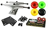 Owlsome 5.25 Polished Aluminum Skateboard Trucks w/ 52mm Wheels Combo Set (Rasta)