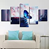 Geiqianjiumai Cartel de Lienzo decoración del hogar Pintura HD Imprimir imágenes 5 Hermosas Mariposas Azules Brillantes y Pluma Libro Pintura sin Marco de Pared 20x30cmx2 20x40cmx2 20x50cmx1