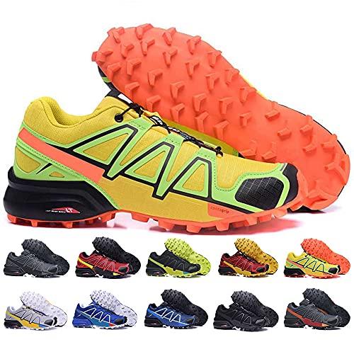 KUXUAN Zapatillas de Ciclismo Hombre Mujer Zapatillas de Senderismo Zapatillas de Running Zapatillas de Caminar - Ligeras y Transpirables,Yellow-47