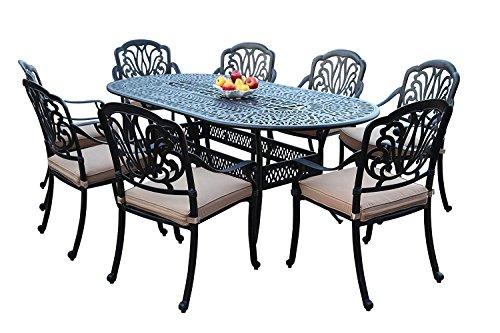 GrandPatioFurniture.com CBM Patio Elisabeth Cast Aluminum 9 Piece Dining Set with 8 Arm Chairs SH258-8A CBM1290