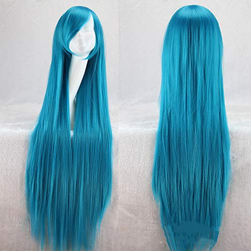 YMOY 100CM lange glatte Haare mehrfarbige Haarfarbe Perücke Anime Cosplay Perücke,Halloween Karneval für Herren Masquerade Cosplay Anime PerückeSee blau