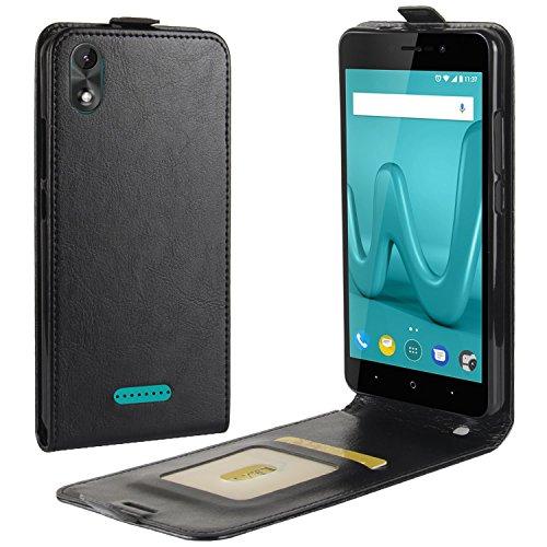 HualuBro Wiko Lenny 4 Plus Hülle, Premium PU Leder Leather Handyhülle Tasche Schutzhülle Hülle Flip Cover mit Karten Slot für Wiko Lenny 4 Plus Smartphone (Schwarz)