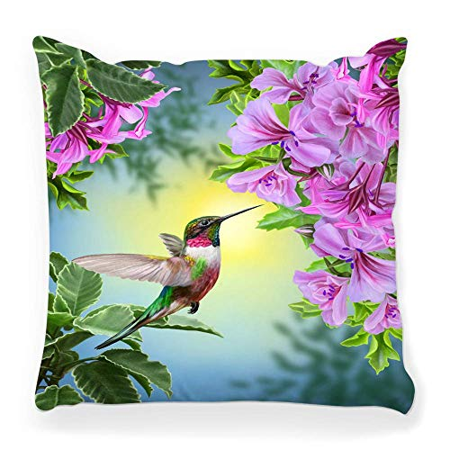 REAlCOOL Pillow Cover 18X18 Inch Bird Hummingbird Pink Green Color Animal Day Garden Vintage Beak Beauty Blossom Blue Botanical Branch