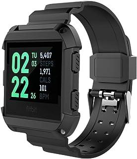 Comtax for Fitbit Ionic ベルト 交換用バンド 柔らかいシリコン製 フレーム付き スポーツブレスレット 調整可能 多色選択 対応 Fitbit Ionic (ブラック)